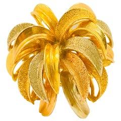 18k Firework Tri-Gold Ring Yellow, White, Rose Gold Statement Ring, Blast Ring