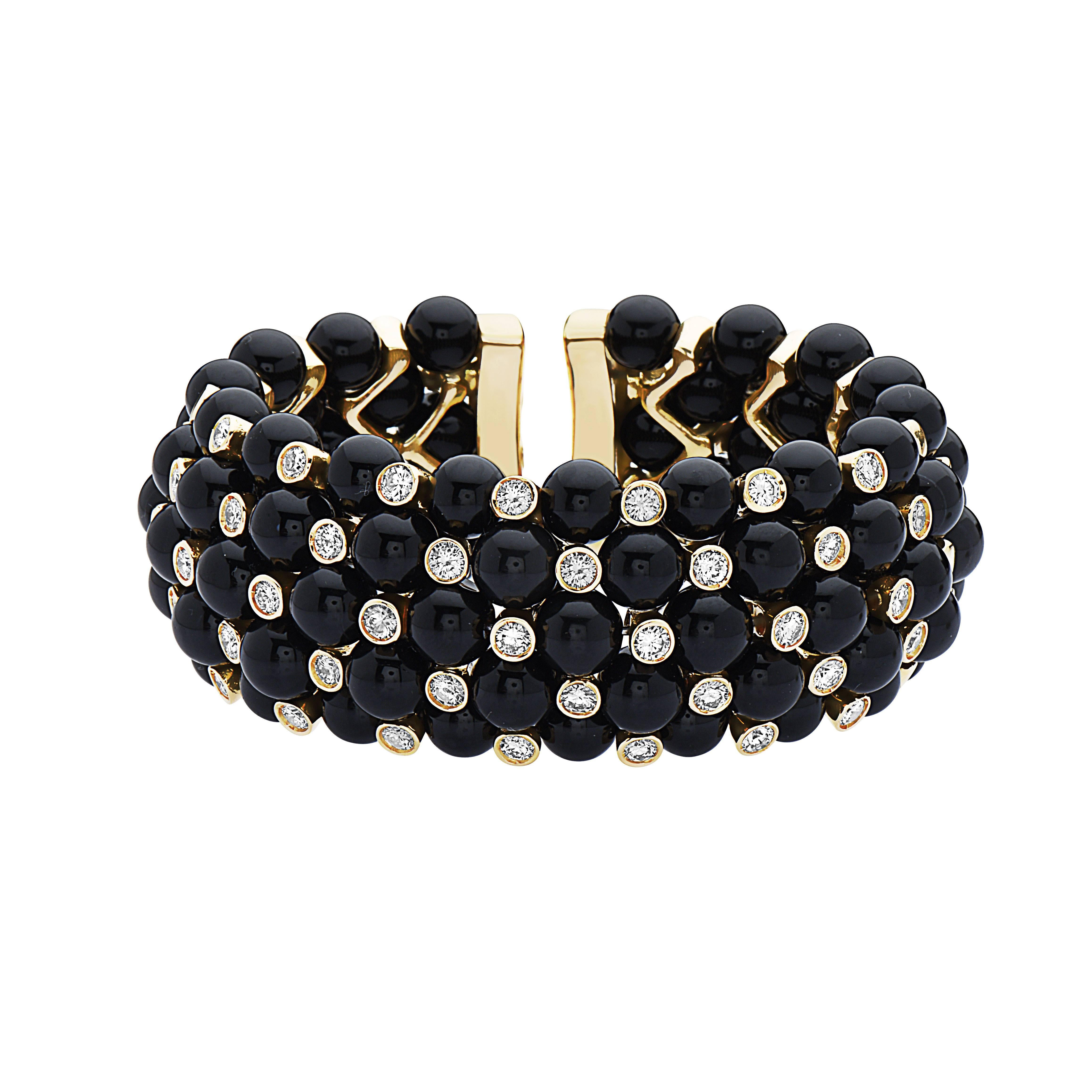 Emilio Jewelry 18 Karat Flexible Handmade Emilio! Diamond Spinnel Cuff Bracelet