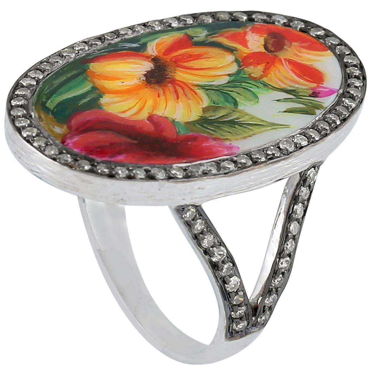 Enamel Diamond 18 Karat Floral Gold Ring