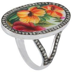 Enamel Diamond 18 Karat Floral Gold Ring