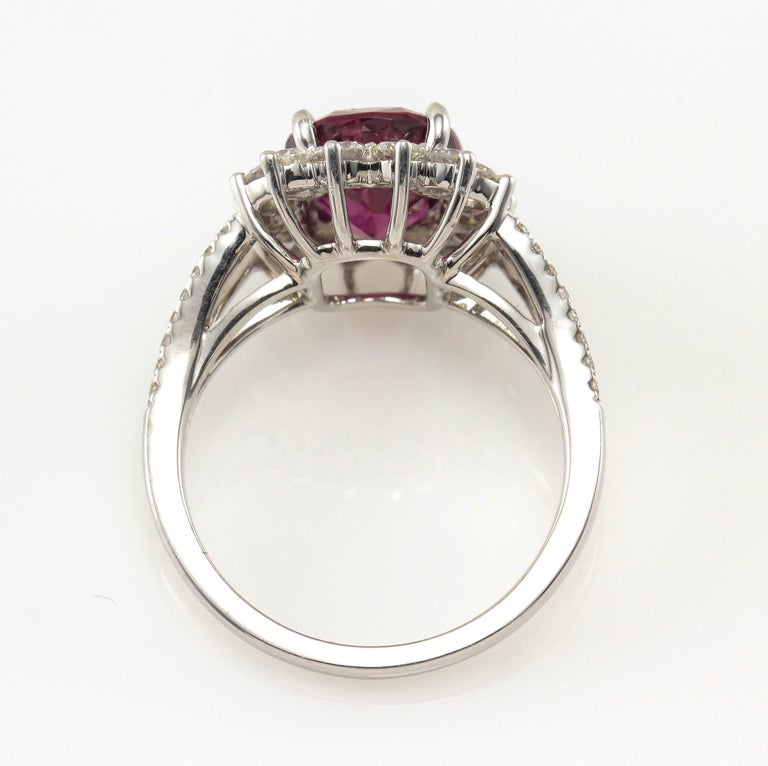 18 Karat GIA Certified 3.80 Carat Natural Ruby Diamond Halo Ring White Gold In Good Condition For Sale In Boca Raton, FL