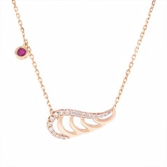 18K Gold & 0.20 cts White Diamonds 0.11 cts Ruby Swan Chain Necklace by Alessa