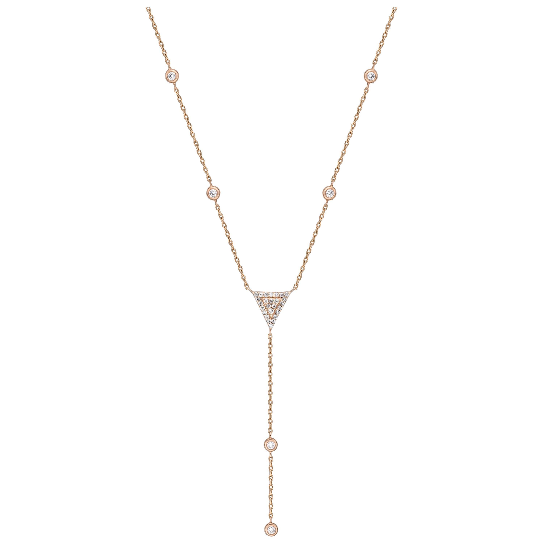 18k Gold, 0.21 Carat, F Color, VS Clarity, Diamond Bezel Drop Pendant Necklace