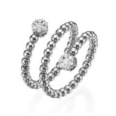 18k Gold, 0.25 Carat, F Color, VS Clarity, Diamond Spiral Bubble Ring