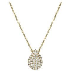 18k Gold, 0.43 Carat, F Color, VS Clarity, Diamond Crusted Drop Pendant Necklace