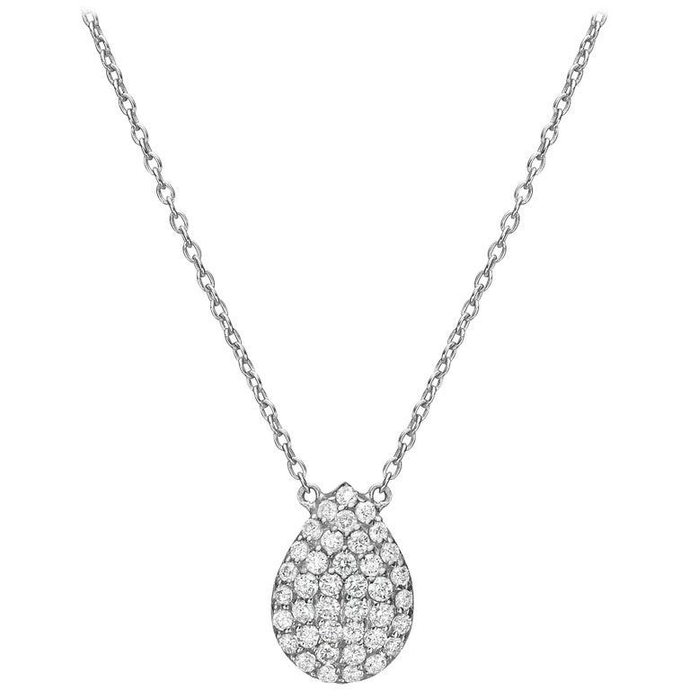 18k Gold, 0.43 Carat, F Color, VS Clarity, Diamond Crusted Drop Pendant Necklace For Sale