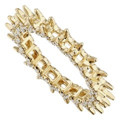 18K Gold 0.65 ct t.w Diamond Eternity Ring Setting With Pave Accents Ladies Ring