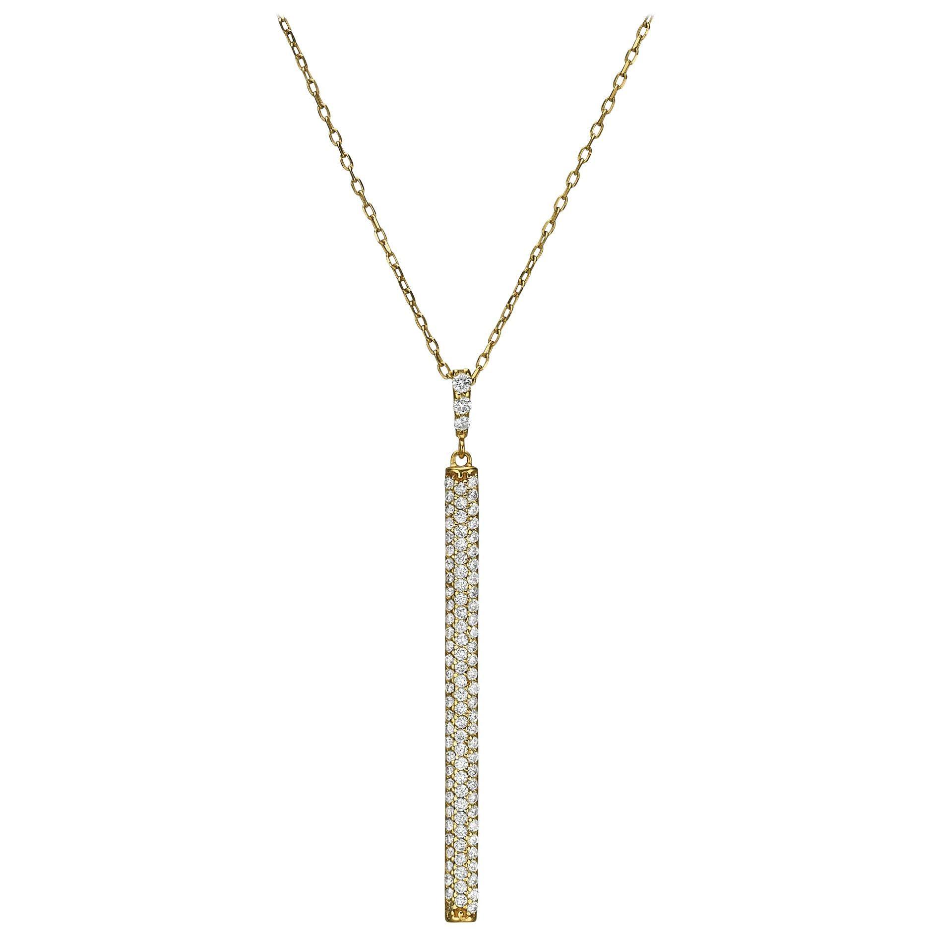 18k Gold, 0.70 Carat, F Color, VS Clarity, Diamond Vertical Bar Pendant Necklace