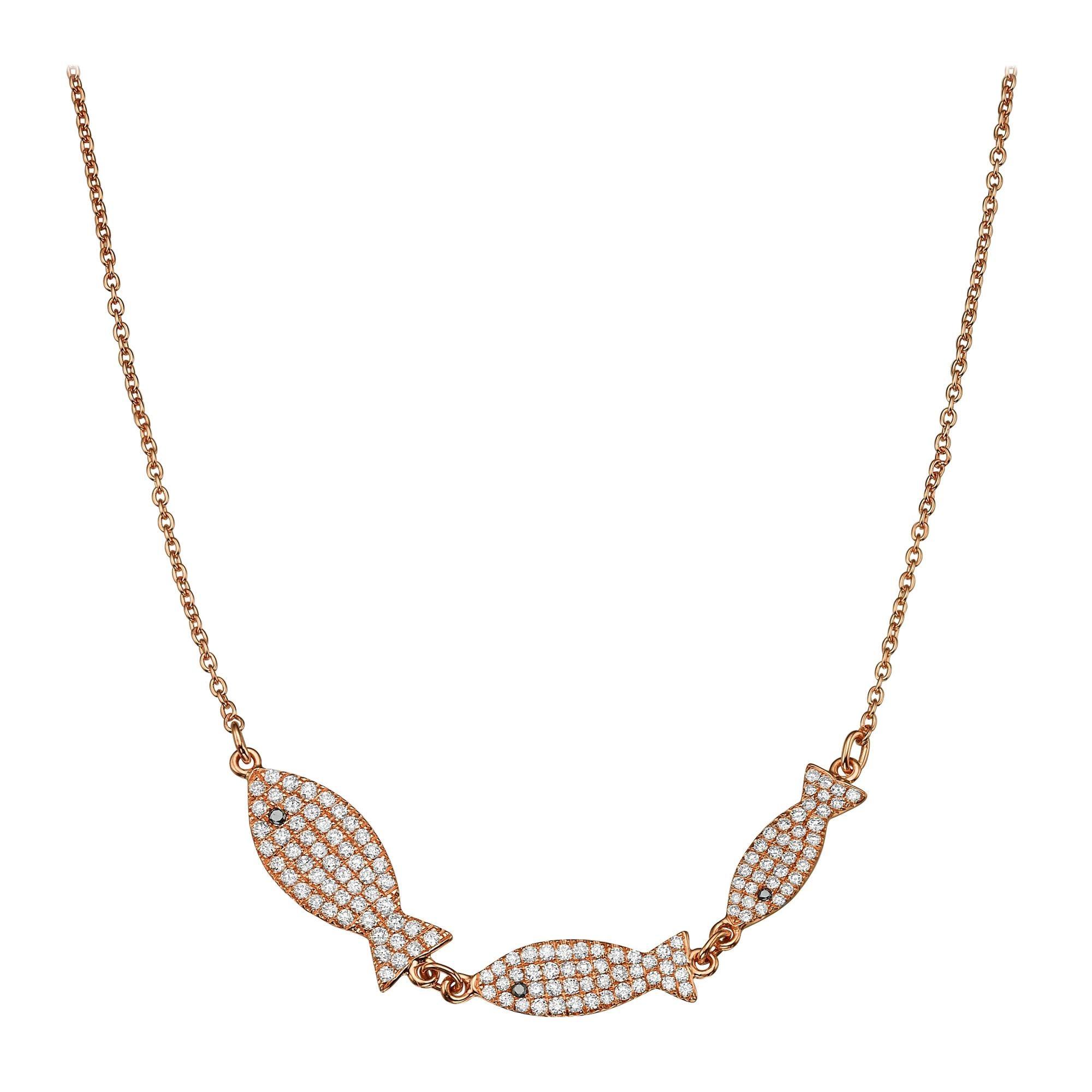 18k Gold, 0.73 Carat, F Color, VS Clarity, Diamond Crusted Fish Pendant Necklace