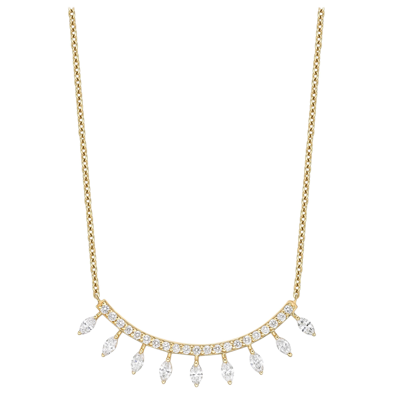 18k Gold, 0.97 Carat, F Color, VS Clarity, Diamond Crescent Bar Marquise Pendant