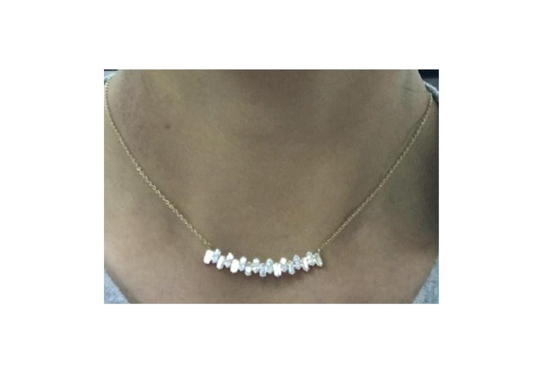 Gemstone: White Diamond Diamond Shape:  Round Brilliant   Composition: Solid Yellow Gold 18k Diamond Carat Weight: 1.16 cts Gold weight: 5.46 Natural Conflict-free Diamonds  Chain length: Please add a note for the length you would like