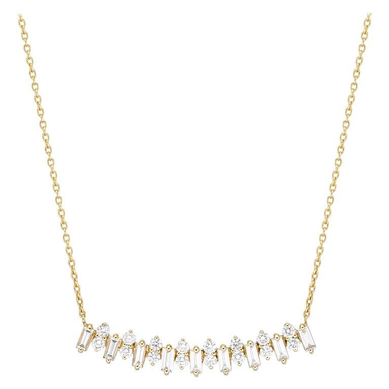 18k Gold, 1.16 Carat, F Color, VS Clarity, Diamond Crescent Baguette Pendant Nec For Sale