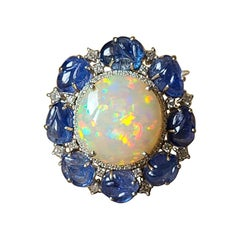18k Gold, 14.68 Carat Ethiopian Opal, Blue Sapphire & Diamonds Cocktail Ring