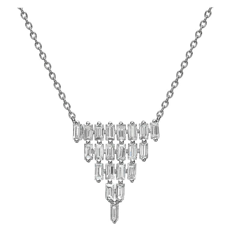 18k Gold, 1.59 Carat, F Color, VS Clarity, Multi-Layer Triangle Diamond Pendant For Sale