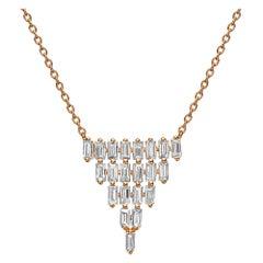 18k Gold, 1.59 Carat, F Color, VS Clarity, Multi-Layer Triangle Diamond Pendant
