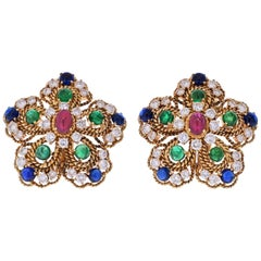 18K Gold 1970s Multigem Ruby, Sapphire, Emeralds and Diamond Flower Earrings