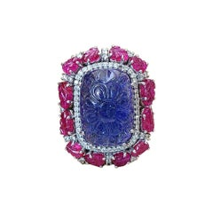 18k Gold, 21.67 Carats Carved Tanzanite, Ruby Leaves & Diamonds Cocktail Ring