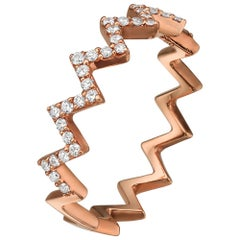 18k Gold, .24 Carat, F Color, VS Clarity, Eternity Zig Zag Diamond Crusted Ring