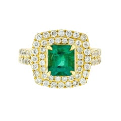18K Gold 2.72ctw GIA Fine Emerald & Double Diamond Halo Statement Cocktail Ring