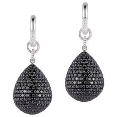 18K Gold, 35 Carat Black and White Diamond Dangle Earrings Totaling 1.046 Stones