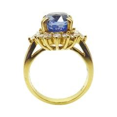 18k Gold 4.34cts Genuine Natural Ceylon Sapphire and Diamond Ring '#J3398'