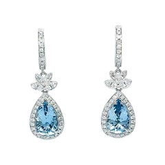 18 Karat Gold 4.96 Carat Aquamarine and 0.85 Carat Diamond Earrings