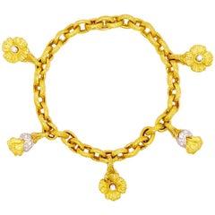 18k Gold .50 Carat Diamond Bracelet w Platinum Trim Custom Finish Charm Bracelet