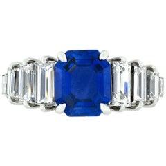 18k Gold 5.91ctw AGL Emerald Burma No Heat Sapphire & Step Baguette Diamond Ring