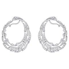 18k Gold, 6.51 Carat, F Color, VS Clarity, Diamond Paved Earrings, Diamond Crust