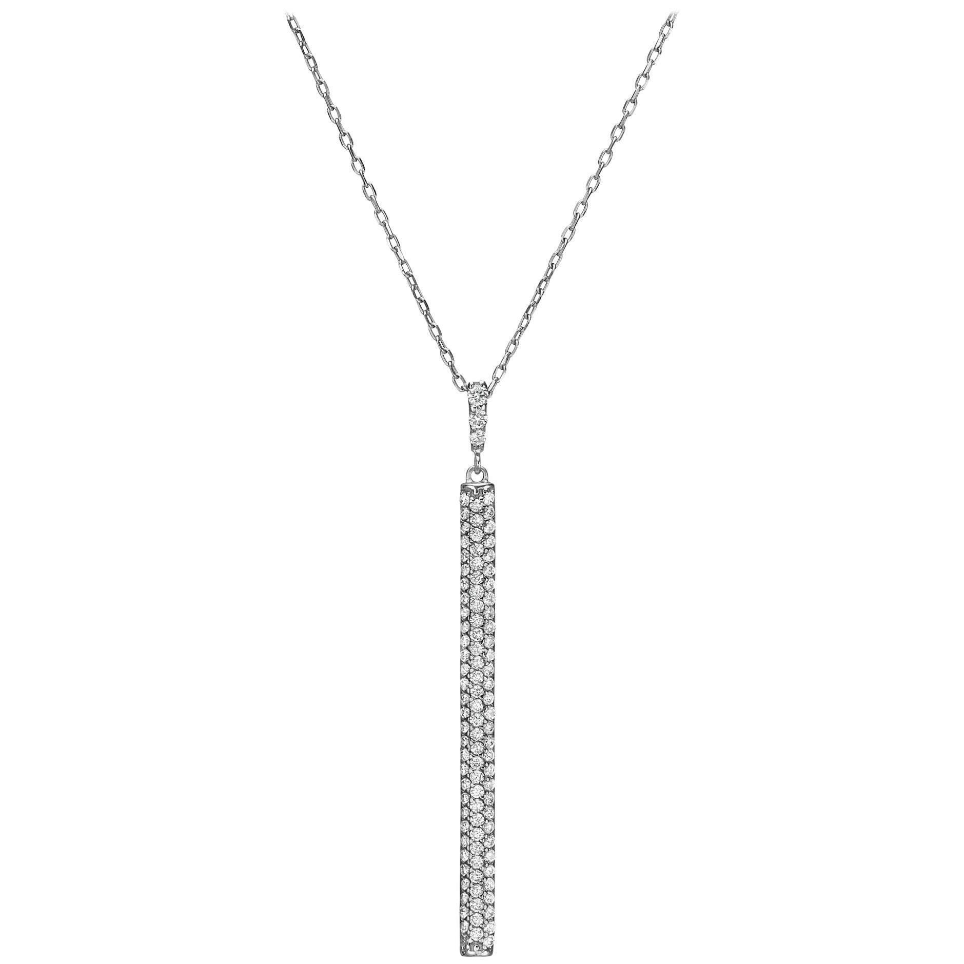 18k Gold, .70 Carat, F Color, VS Clarity, Diamond Vertical Bar Pendant Necklace