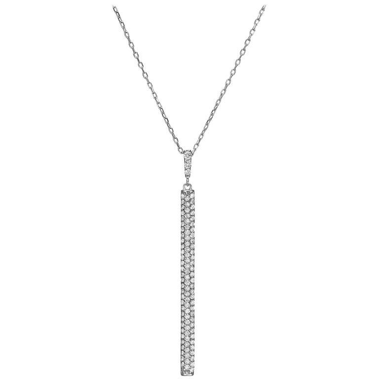 18k Gold, .70 Carat, F Color, VS Clarity, Diamond Vertical Bar Pendant Necklace For Sale