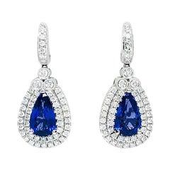 18 Karat Gold 8.22 Carat AAAA Color Tanzanite and Diamond Earrings