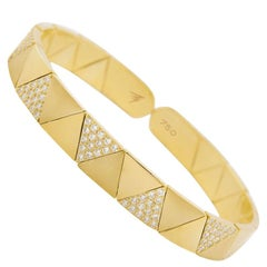 18k Gold and 1.16 Carat White Diamond Duo Solo Full Pave Bracelet by Alessa
