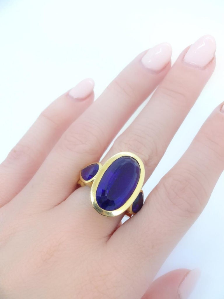 18 Karat Gold and Amethyst Ring, circa 1970 In Good Condition For Sale In New York, NY