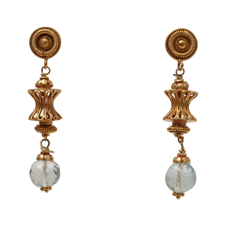 18K Gold and Aquamarine Dangle Drop Earrings by Deborah Lockhart Phillips