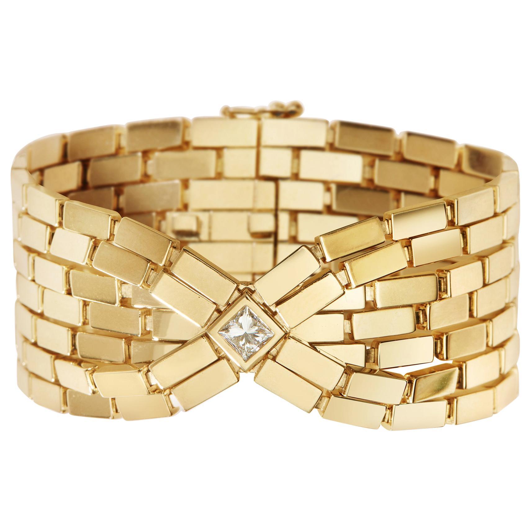 18 Karat Gold and Diamond Cascade Bracelet