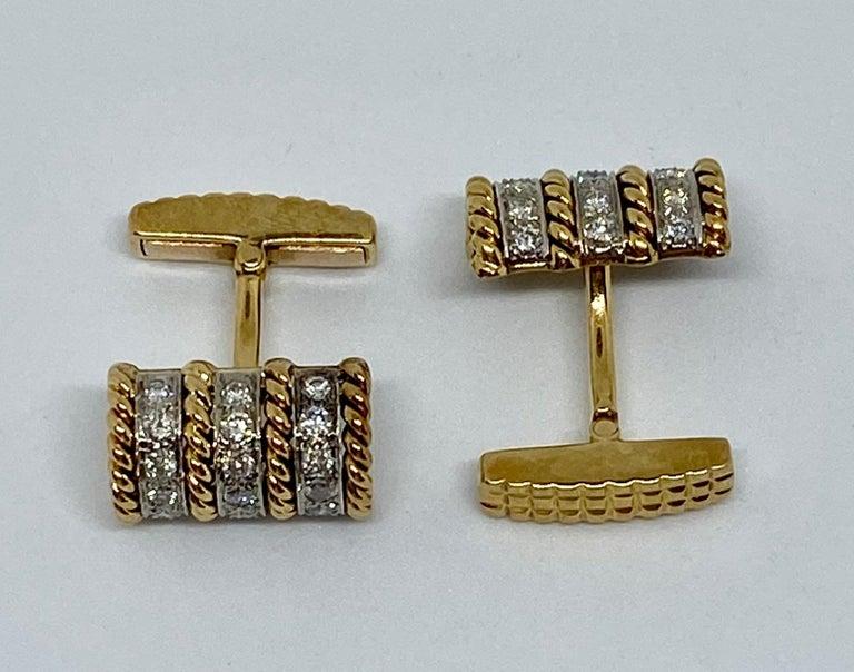 Modern 18 Karat Gold and Diamond Cufflinks Signed Vourakis For Sale