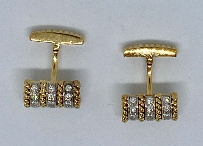 18 Karat Gold and Diamond Cufflinks Signed Vourakis In Good Condition For Sale In San Rafael, CA