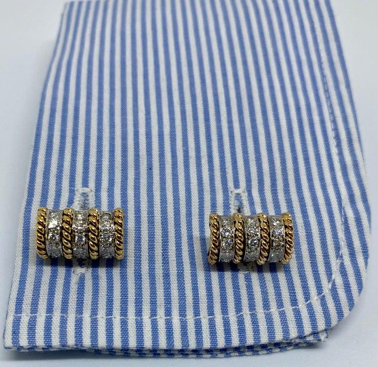 Women's or Men's 18 Karat Gold and Diamond Cufflinks Signed Vourakis For Sale