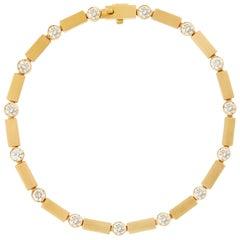 18 Karat Gold and Diamond Stepping Stones Bracelet