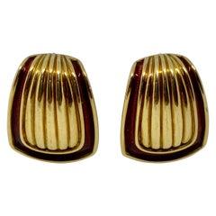 18K Gold and Red Enamel Earrings by Leo de Vroomen