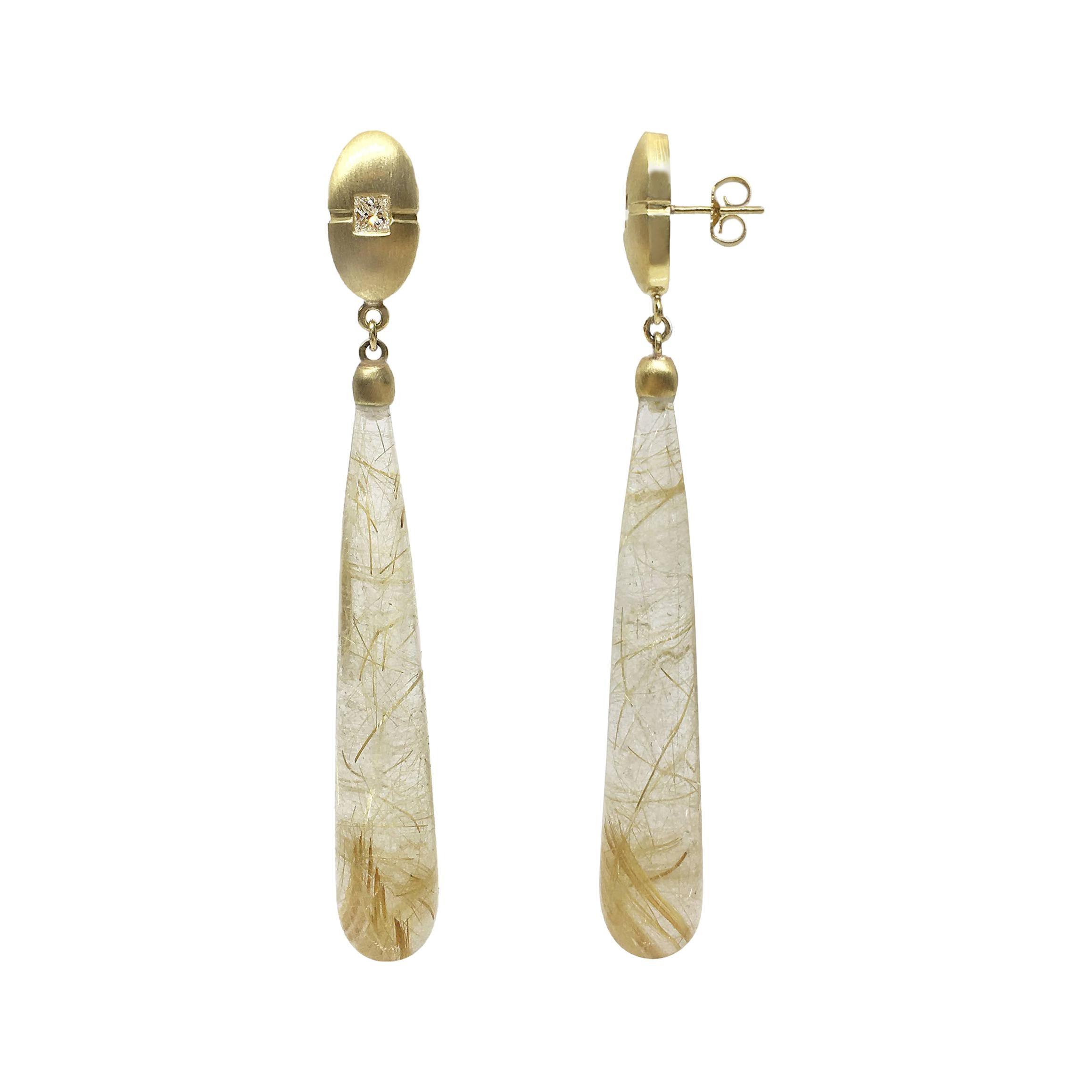 18k Gold and Rutilated Quartz Drop Earrings
