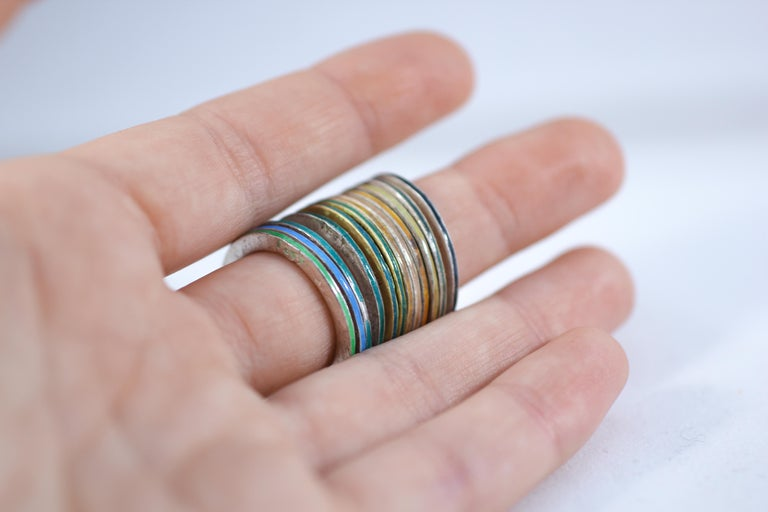 18K Gold and Silver Enamel Rings Stack Bridal Anniversary or Fashion Unisex Band For Sale 6