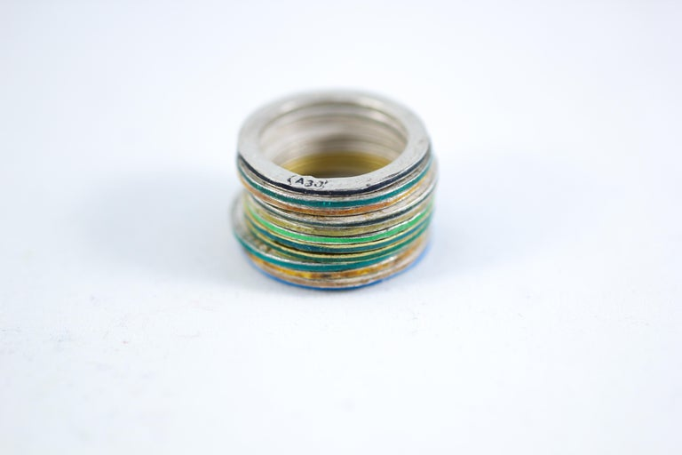 Simplicity Stack of 12 handmade gold and fine silver rings can be worn as an alternative bridal, anniversary, or unisex fashion band -  This stack of rings combines two 18k gold and 10 fine silver rings all colored with enamels. Together they are