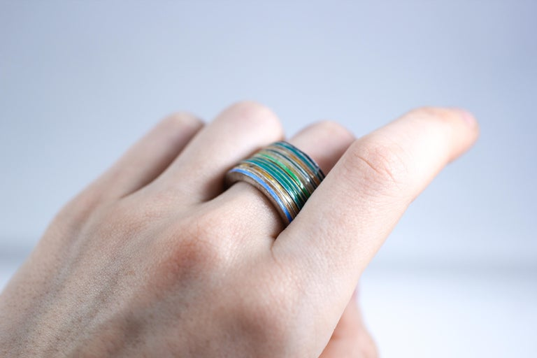 Women's or Men's 18K Gold and Silver Enamel Rings Stack Bridal Anniversary or Fashion Unisex Band For Sale