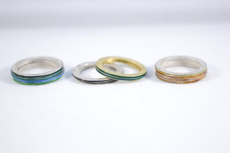 18K Gold and Silver Enamel Rings Stack Bridal Anniversary or Fashion Unisex Band For Sale 1