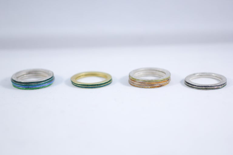 18K Gold and Silver Enamel Rings Stack Bridal Anniversary or Fashion Unisex Band For Sale 2