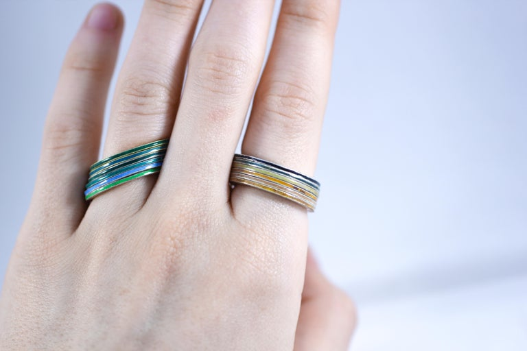 18K Gold and Silver Enamel Rings Stack Bridal Anniversary or Fashion Unisex Band For Sale 3