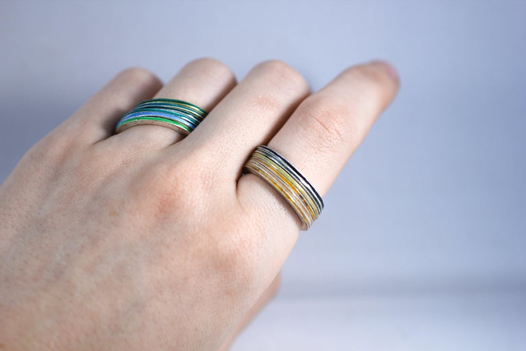18K Gold and Silver Enamel Rings Stack Bridal Anniversary or Fashion Unisex Band For Sale 4