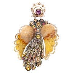 18k Gold and Sterling Silver Angel Brooch and Earring Jackets with Gemstones